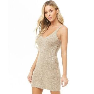 Ribbed Tinsel Mini Cami Dress